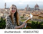 pretty lady stands with... | Shutterstock . vector #456014782