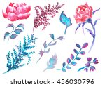 floral watercolor  delicate... | Shutterstock . vector #456030796