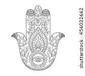 hamsa henna tattoo with ethnic... | Shutterstock .eps vector #456032662