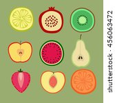 vector set with fruit and... | Shutterstock .eps vector #456063472