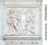 Small photo of BOLOGNA, ITALY - JUNE 04: Cain and Abel sacrifices, Genesis relief on portal of Saint Petronius Basilica in Bologna, Italy, on June 04, 2015