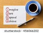 Small photo of IDEA - Imagine dare expend achieve- handwriting on notebook with cup of coffee and pen, acronym business concept