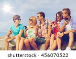 friendship  summer  technology... | Shutterstock . vector #456070522