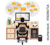businessman sending or...   Shutterstock .eps vector #456086716