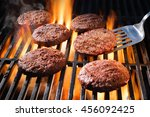juicy beef hamburger patties... | Shutterstock . vector #456092425