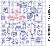 back to school supplies sketchy ... | Shutterstock .eps vector #456128386