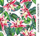 seamless tropical floral... | Shutterstock . vector #456130978