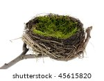 Empty easter and natural nest with egg - stock photo