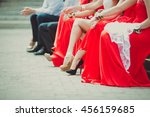 bridesmaids in the red dresses... | Shutterstock . vector #456159685