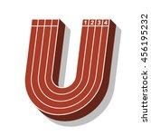 sport font  letter u  running... | Shutterstock .eps vector #456195232