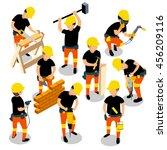 flat 3d isometric builder... | Shutterstock .eps vector #456209116