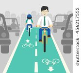 cyclists in city. cycling on... | Shutterstock .eps vector #456217552