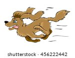 Stock vector vector isolated cartoon style hand drawn illustration of a happy running dog design best for 456222442