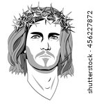 jesus christ  a black and white ... | Shutterstock .eps vector #456227872