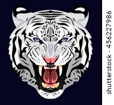 bared in a terrible rage tiger | Shutterstock . vector #456227986