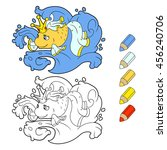 gold wish fish coloring book... | Shutterstock .eps vector #456240706