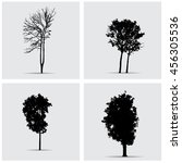set of vector tree silhouettes. | Shutterstock .eps vector #456305536