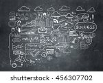 business plan sketched on wall .... | Shutterstock . vector #456307702