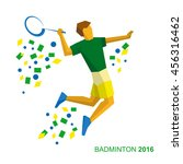 badminton player in the colors... | Shutterstock .eps vector #456316462