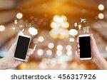 hand show or present big blank... | Shutterstock . vector #456317926