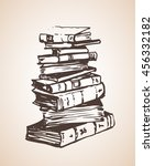big pile of different books.... | Shutterstock .eps vector #456332182