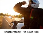 driver motorcycle drink water   ... | Shutterstock . vector #456335788