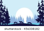 silhouette of three fox and... | Shutterstock .eps vector #456338182
