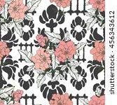 pink peony flowers on black...   Shutterstock .eps vector #456343612