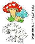 cartoon mushrooms and grass on... | Shutterstock .eps vector #456345568