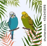 green and blue bird in leaves.... | Shutterstock .eps vector #456345898