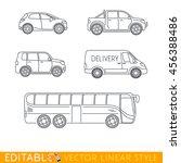 car icon set. city bus