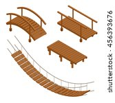 Stock vector wooden bridge vector illustrations flat d isometric set 456393676