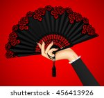 female hand with open black... | Shutterstock .eps vector #456413926