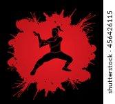 kung fu action designed on... | Shutterstock .eps vector #456426115