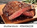 prime black angus ribeye steak. ... | Shutterstock . vector #456436228