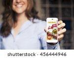 woman ordering take away food... | Shutterstock . vector #456444946