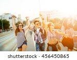 happy energetic  young people... | Shutterstock . vector #456450865