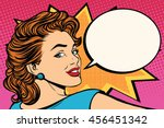 happy pop art retro woman close ... | Shutterstock .eps vector #456451342