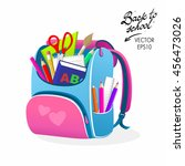 back to school pink bag vector... | Shutterstock .eps vector #456473026