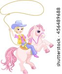 blond cowgirl with lasso | Shutterstock .eps vector #456489688