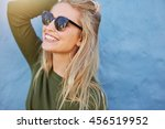 cheerful young woman in... | Shutterstock . vector #456519952
