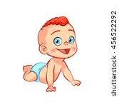 cute happy crawling little baby ... | Shutterstock .eps vector #456522292