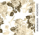 floral pattern seamless... | Shutterstock . vector #456524092