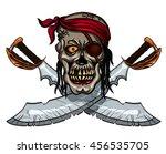 danger pirate skull in bandanna ... | Shutterstock .eps vector #456535705
