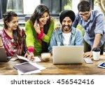 friends technology devices... | Shutterstock . vector #456542416