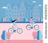 couple riding bicycles in in... | Shutterstock .eps vector #456550252
