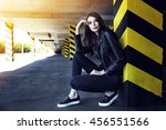 fashion portrait of young... | Shutterstock . vector #456551566