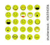 set of yellow emotions   emoji... | Shutterstock .eps vector #456554356