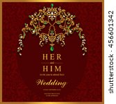 wedding invitation or card with ... | Shutterstock .eps vector #456601342