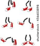 cartoon walking feet on stick... | Shutterstock .eps vector #456603898